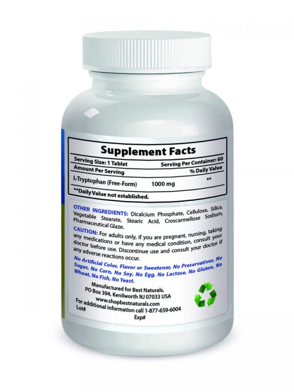 Best Naturals L-Tryptophan 1000 mg 60 Tab Supports Relaxation and Restful Sleep 1