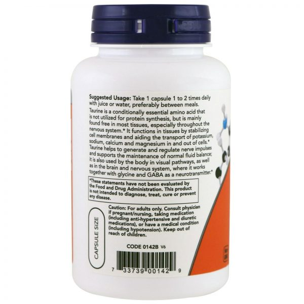Now Foods Taurine Double Strength 1 000 mg 100 Veg Capsules GMP Quality Assured, 2