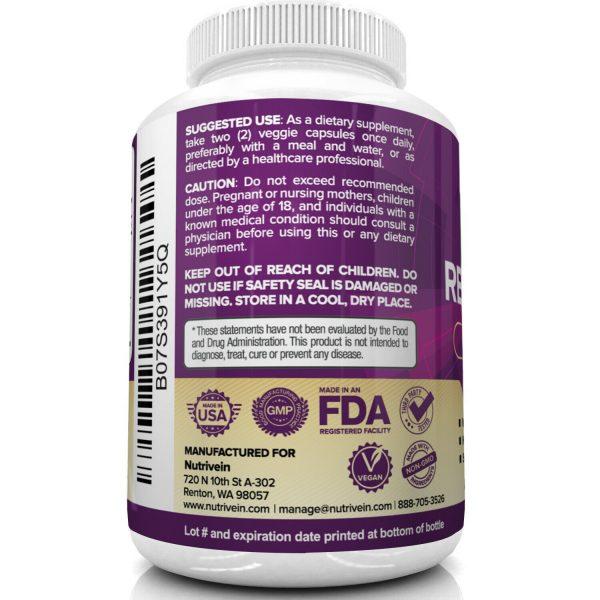 Nutrivein Resveratrol 1450mg - 120 Capsules - Anti-Aging Antioxidant Supplement 6