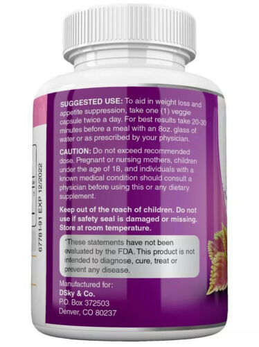 6 x Herbal Beauty FORSKOLIN 3400mg Maximum Strength RAPID RESULTS Pure Extract 5