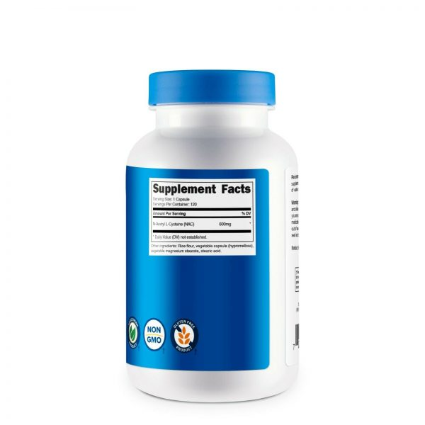 Nutricost N-Acetyl L-Cysteine (NAC) 600mg, 120 Vegetarian Capsules - Non-GMO 5
