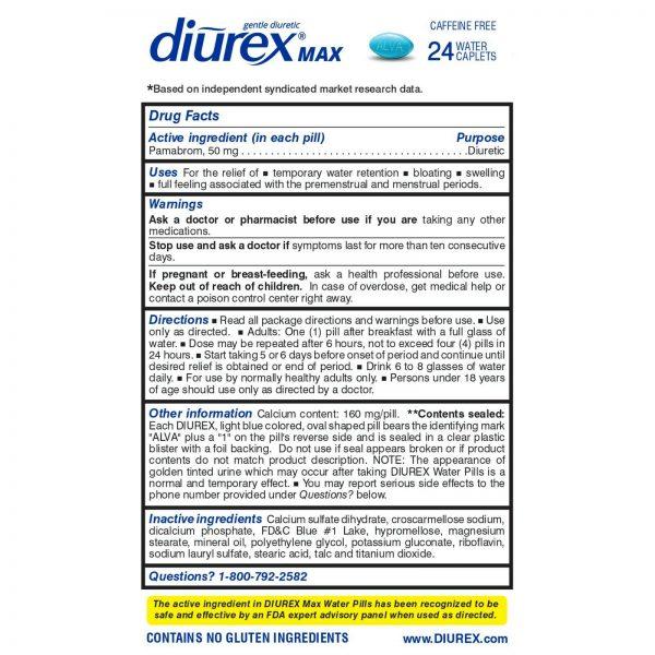 Diurex Max Water Pills - Maximum Strength Caffeine Free Diuretic - Relieve Wa... 1