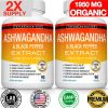 Organic Ashwagandha Capsules 1950 MG - 180 CAPSULE with Black Pepper Root Powder