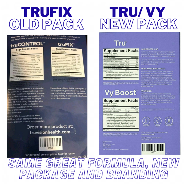 Fresh 30 Day TruVision Health TruFix/TruControl Weight Loss Combo TRU & VY Boost 3