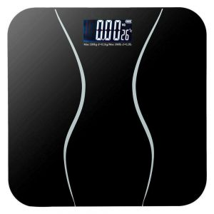 400lb LCD Digital Bathroom Body Weight Scale Tempered Glass 180kg with 2 Battery 1