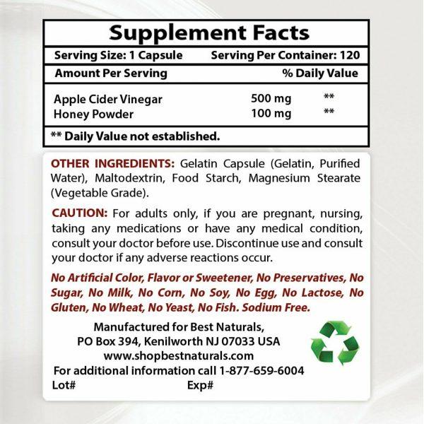Best Naturals Apple Cider Vinegar Plus Weight Loss Supplement 120 Capsules  1