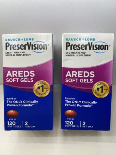 Lot Of 2 BAUSCH +LOMB PRESERVISION EYE VITAMIN & MINERAL AREDS 120 Cts 05/2022