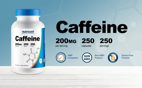 Nutricost Caffeine Pills, 250 Capsules, 250 Servings, 200mg Per Serving 1