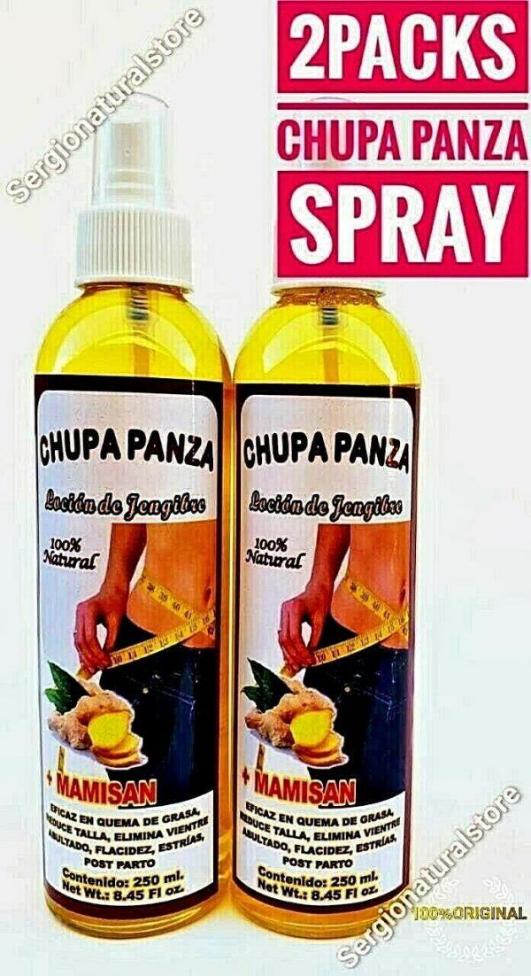 2 Packs CHUPA PANZA SPRAY + Ginger + MAMISAN + LOCION + Jengibre