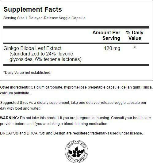 Swanson Standardized Ginkgo Biloba Extract Vegetable Capsules, 120 mg, 100 Count 1