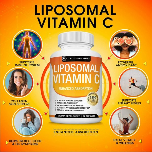 Liposomal Vitamin C 1800 MG Capsules (2 PACK) High Absorption Vitamin C Pills  3