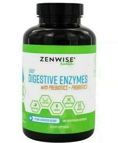 Zenwise Health Daily Digestive Enzymes With Prebiotics Probiotics 180 Exp 07/22