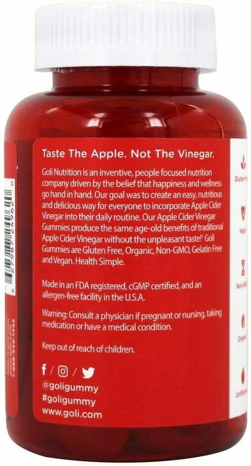 60 Count Gummies Bottle - Goli Apple Cider Vinegar Gummies Vitamins ACV Gummy  2