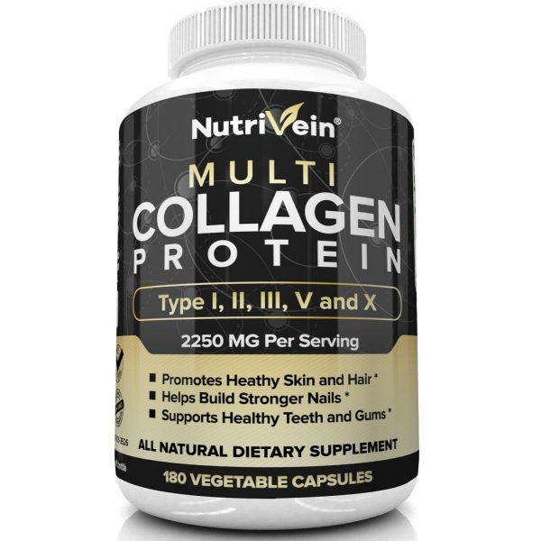 Nutrivein Multi Collagen Pills 2250mg - 180 Capsules - Hair, Skin, Nails, Bones 3