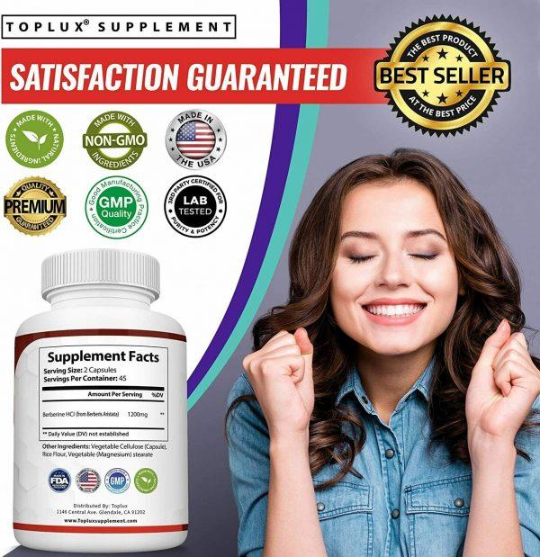 Berberine HCl 1200 MG Premium 90 CAPSULES- (Non-GMO, Gluten Free Vegetarian)  6