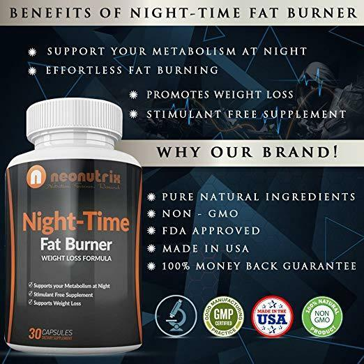 Night Time Fat Burner Weight Loss Pills for Men and Women Burn Fat 5