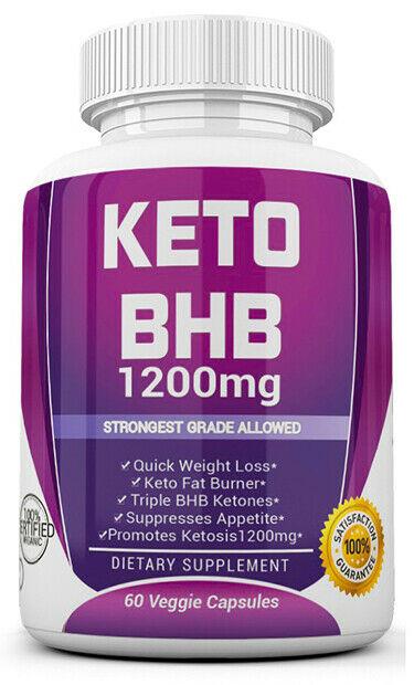 3 X KETO BHB 1200mg PURE Ketone FAT BURNER Weight Loss Diet Pills Ketosis 1