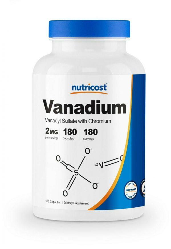 Nutricost Vanadium + Chromium 2mg 180 Vegetarian Capsules