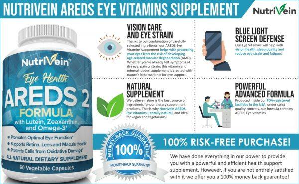 Nutrivein AREDS 2 Eye Vitamins - Supports Eye Strain Dry Eyes - Eye Health Boost 1
