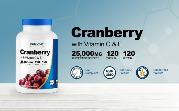 Nutricost Cranberry Extract (25,000mg) (120 Capsules) With Vitamin C & Vitamin E 2