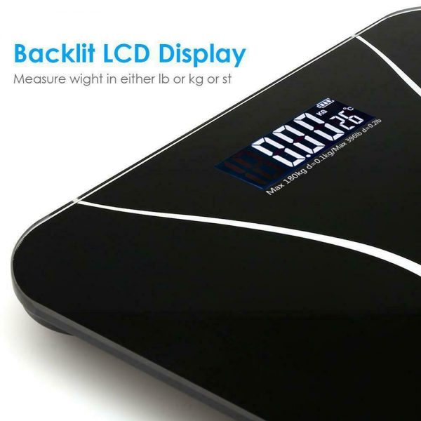 400lb LCD Digital Bathroom Body Weight Scale Tempered Glass Auto Switch 180kg 3