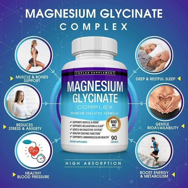 Magnesium Glycinate 525 MG Complex 90 Capsules125% DV High Absorption Magnesium  1