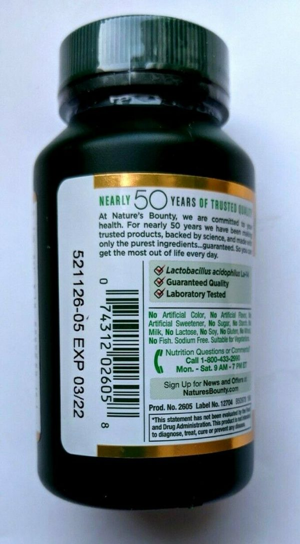NATURE'S BOUNTY-ACIDOPHILUS PROBIOTIC-100tabs. For Digestive System. 2