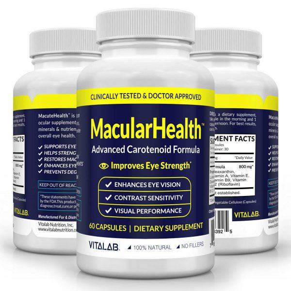 Macular Health Advanced Eye Vision Formula Improves Eye Strength Pills 60 Caps