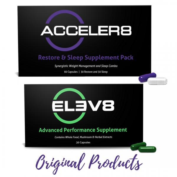 Acceler8 (purple&white) + Elev8 (green) B Epic & FREE NUTRINRG Sample