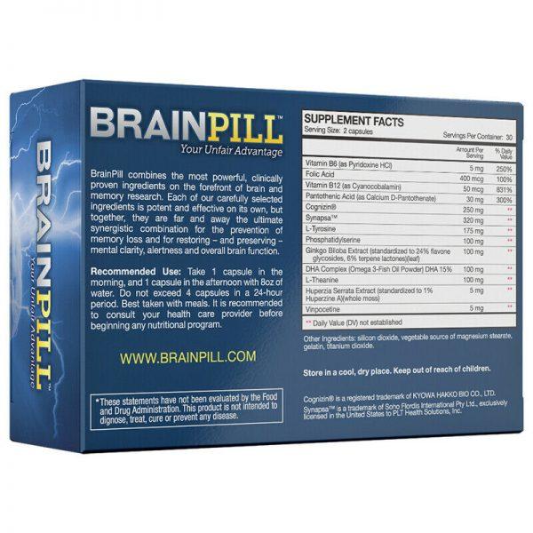 BRAINPILL Nootropics Focus Faster Memory Mental Stamina Brain Pill Supplement  1