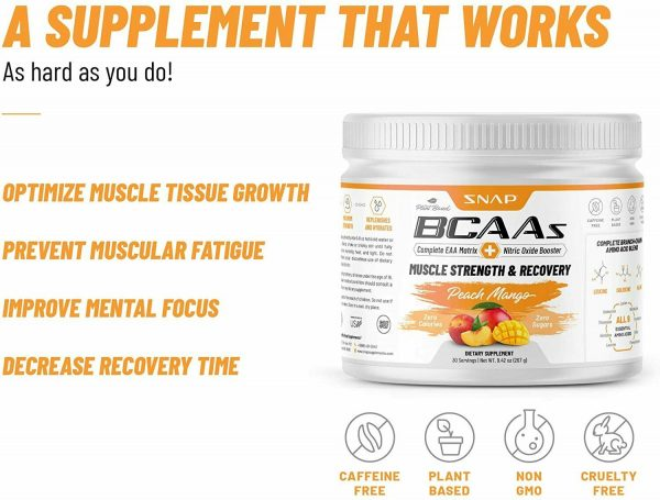 BCAA Powder Peach Mango Nitric Oxide Pre Workout & Muscle Strength - 30 Servings 2