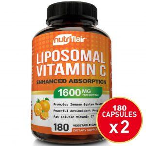 2X - Liposomal Vitamin C 1600mg, 360 CAPSULES High Absorption Vitamin C Pills  1