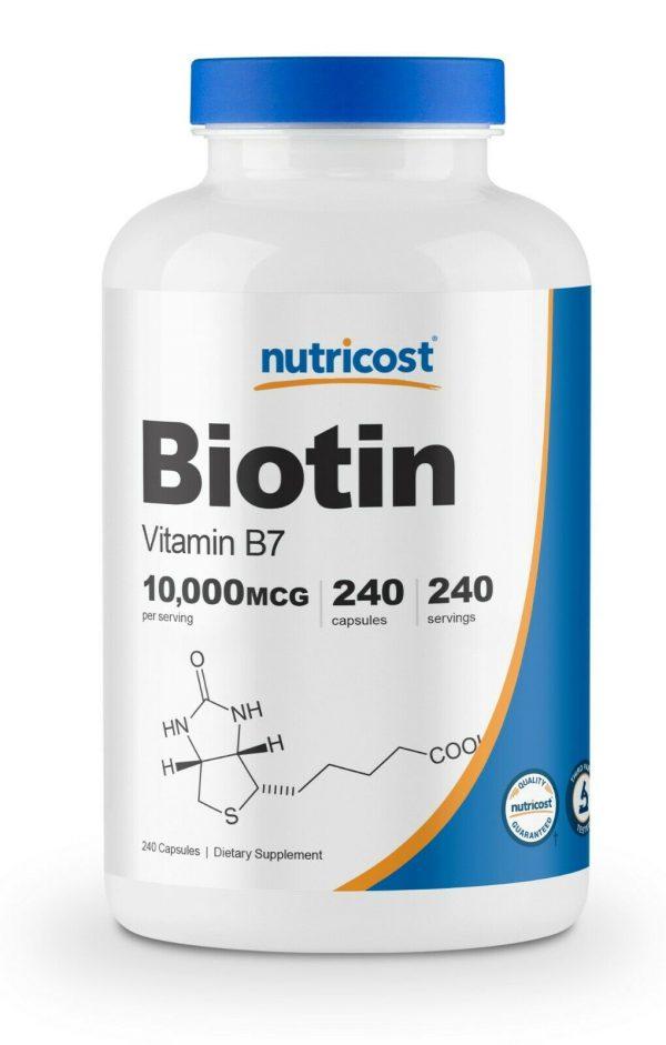 Nutricost Biotin (Vitamin B7) 10,000mcg (10mg), 240 Capsules