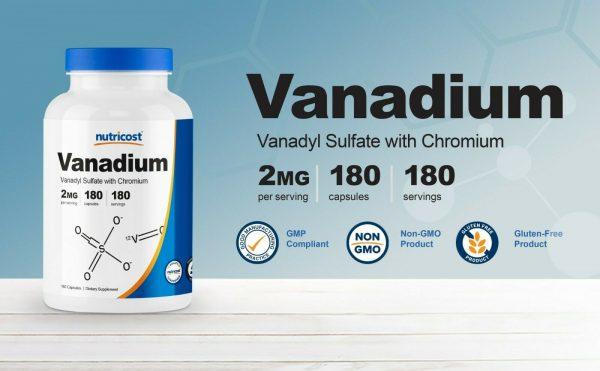 Nutricost Vanadium + Chromium 2mg 180 Vegetarian Capsules 3