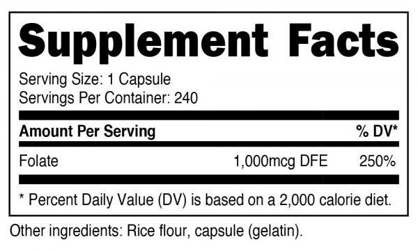 Nutricost Folic Acid (Vitamin B9) 1000 mcg, 240 Capsules - Gluten Free & Non-GMO 1