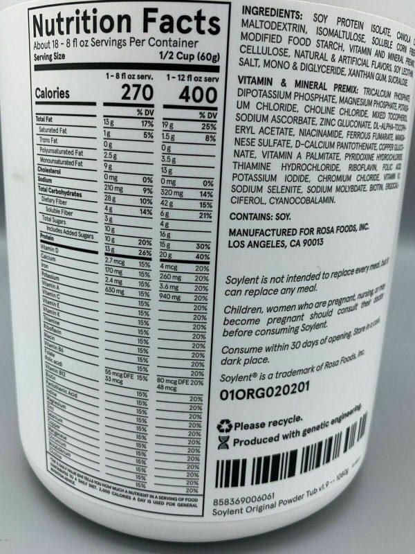 Soylent Meal Replacement Powder - 36.8 Fl Ounces Exp 08/2019 2