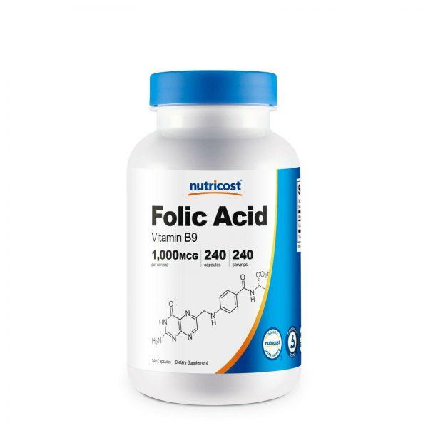 Nutricost Folic Acid (Vitamin B9) 1000 mcg, 240 Capsules - Gluten Free & Non-GMO
