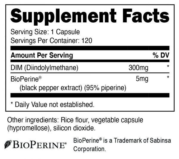 Nutricost DIM (Diindolylmethane) 300mg, 120 Capsules with BioPerine 1