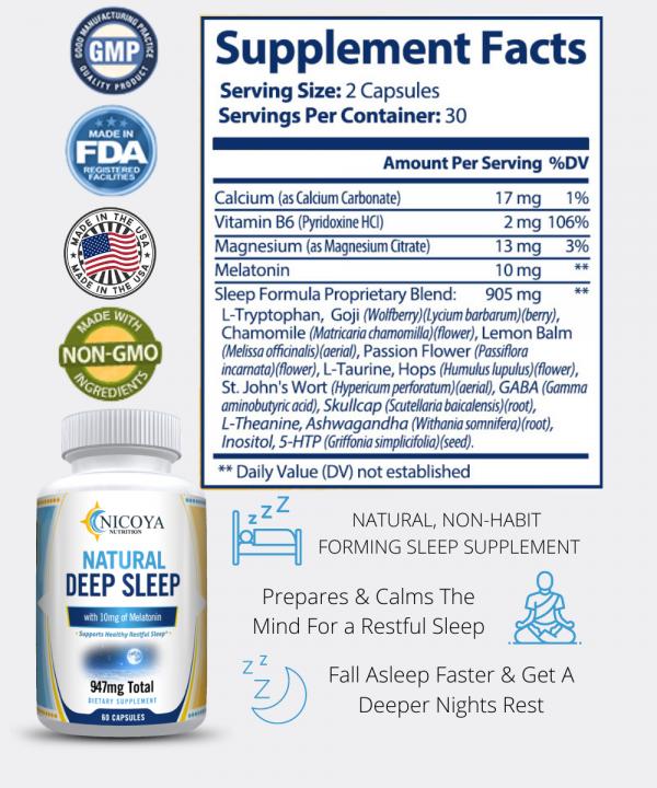 Natural Deep Sleep Supplement - Melatonin 10 mg, Sleep Aid - Deeper Nights Rest 3