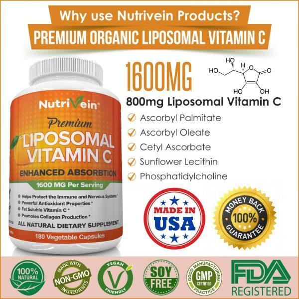 Nutrivein Liposomal Vitamin C 1600mg -180 Capsules - High Absorption Supplements 7