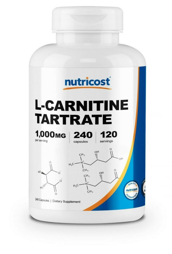 Nutricost L-Carnitine Tartrate Capsules (240 Caps) - 1 Gram per Serving