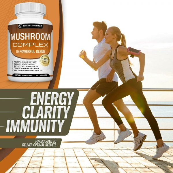 Mushroom Complex Supplement (2 Pack) +10 Mushrooms Lions Mane Reishi Pills 5