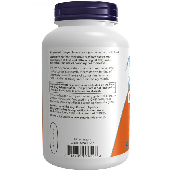 NOW Foods Molecularly Distilled Omega-3 Fish Oil 1000 mg 200 Softgels, FRESH 2