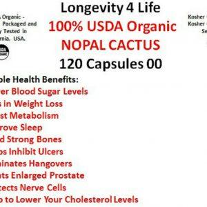 100% USDA ORGANIC NOPAL CACTUS - 120 Capsules 00 1