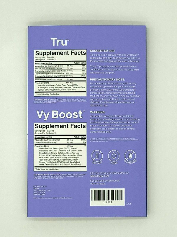 Fresh 30 Day TruVision Health TruFix/TruControl Weight Loss Combo TRU & VY Boost 7