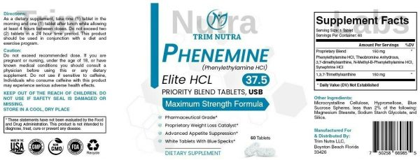 Phenemine Elite Best 37.5 P White/Blue Tabs Slimming Diet Pills That Work 375 P 2