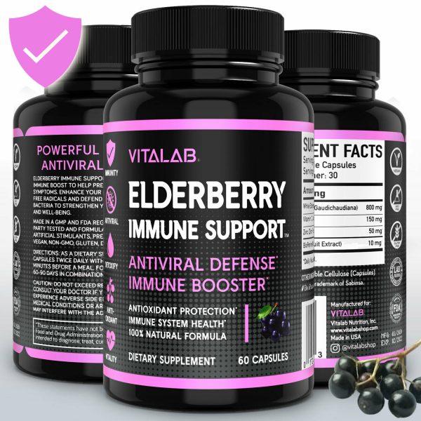Elderberry Immune System Booster 1000mg Capsules Elderberry Sambucus