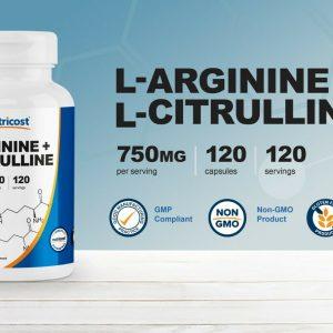 Nutricost L-Arginine L-Citrulline Complex 750mg, 120 Capsules - Non-GMO 1