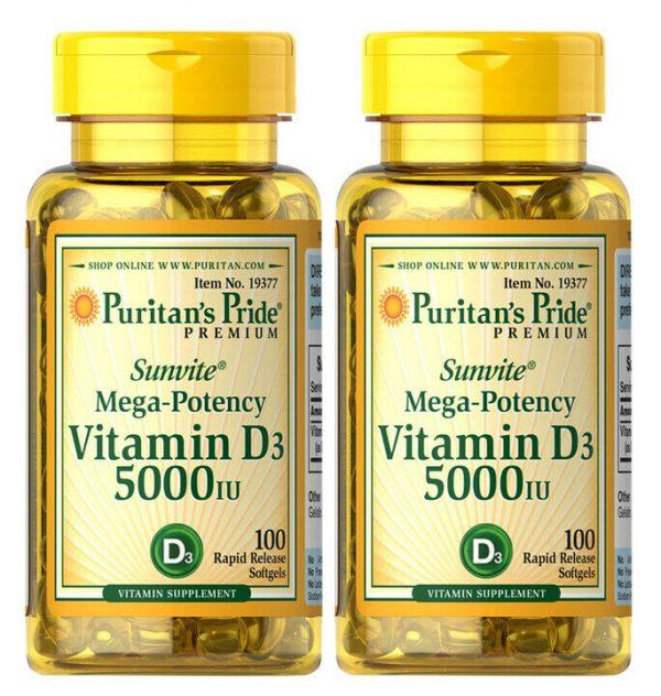 Puritan's Pride Vitamin D3 5000 IU 100 Softgels Mega Potency (2 PACK)
