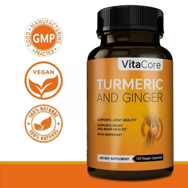 Turmeric Curcumin Ginger, 1950mg , with Bioperine 95% Curcuminoids , 120 capsule 4